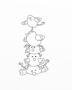 Decorative Rocks Ideas : Sjs Little Musings: Free digital stamp = Easter chick pile! Cross Stitch Embroidery, Embroidery Patterns, Hand Embroidery, Colouring Pages, Coloring Books, Digital Stamps Free, Scrapbook, Quilts, Drawings