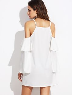 To find out about the Flounce Detail Cold Shoulder Dress at SHEIN, part of our latest Dresses ready to shop online today! Casual Dresses Plus Size, Light Dress, Pretty Dresses, Dress To Impress, Dress Skirt, Cold Shoulder Dress, Girls Dresses, White Dress, Types Of Sleeves