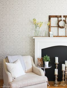 Neutral Living Room or Bedroom Makeover Ideas - DIY Painted Accent Wall Pattern with Designer Wallpaper Effect - Palace Trellis Moroccan Lace Wall Stencils by Royal Design Studio Bedroom Wallpaper Accent Wall, Accent Walls In Living Room, Wall Wallpaper, Living Room Decor, Bedroom Decor, Wall Decor, Damask Wall Stencils, Moroccan Wall Stencils, Farmhouse Wallpaper