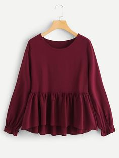 Plain Top Regular Fit Round Neck Long Sleeve Pullovers Burgundy Regular Length Ruffle Hem Solid Blouse Source by daydaychic clothes hijab Hijab Fashion, Fashion News, Fashion Dresses, Indian Blouse, Fall Shirts, Long Blouse, Western Outfits, Blouse Online, Blouse Designs