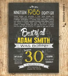 30th Birthday Invitation Surprise Invite