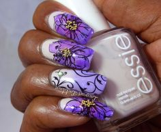 Glazed Spring Flowers and Swirls UberChic Beauty Nail Art