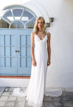 This long, flowy wedding dress is gorgeous.