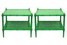 One Kings Lane - Vintage Palm Beach - Green Faux-Bamboo Tables, Pair