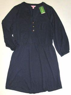 LILLY PULITZER XL True Navy Blue Beckett Peruvian Cotton Shirt Dress NWT XL #LillyPulitzer #ShirtDress #Casual