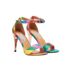 Multicolor Rivet Ankle Strap Sandals (€39) ❤ liked on Polyvore featuring shoes, sandals, ankle strap stilettos, stilettos shoes, ankle strap shoes, stiletto sandals and multi colored high heel sandals