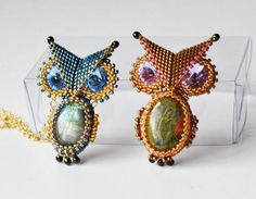 Beaded Owl idea. Composed of four components three beaded cabs and a fold over triangle.