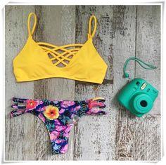 Yellow Lattice Bikini Top and Floral Bottom