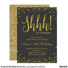 Surprise Birthday Party Invitation Black Gold Any Age! Faux gold confetti splatters blush pink party invitation with sparkle design for surprise birthday party. Perfect for modern birthday. Surprise Birthday Invitations, Gold Birthday Party, Holiday Party Invitations, Birthday Ideas, Birthday Decorations, Golden Birthday, Birthday Bash, Surprise Party Decorations, Black And Gold Party Decorations