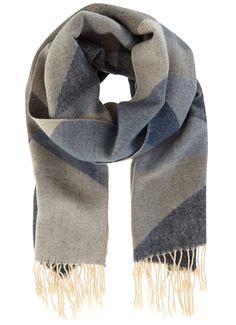 Grey & Azure Block Scarf | Winter Accessories | MintVelvet