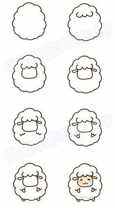 sheep drawing step by step - sheep cute step drawing . - Cute sheep drawing step by step - sheep cute step drawing . - Cute sheep drawing step by step - sheep cute step drawing . Easy Doodles Drawings, Easy Doodle Art, Cute Easy Drawings, Simple Doodles, Kawaii Drawings, Simple Drawings For Kids, Simple Cartoon Drawings, Cute Drawing Images, Simple Animal Drawings
