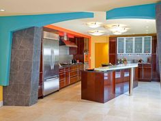 Looking for Orange Kitchen ideas? Browse Orange Kitchen images for decor, layout, furniture, and storage inspiration from HGTV. Home Design, Küchen Design, Kitchen Wall Colors, Kitchen Colour Schemes, Color Schemes, Asian Kitchen, Orange Kitchen, Modern Asian, Modern Retro