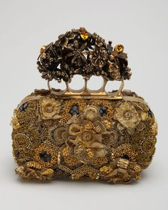 alexander mcqueen clutches   Alexander Mcqueen Raso Seta Knuckle Box Clutch Bag in Gold