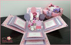 Two Year Old Birthday Exploding Box Card with Peppa Pig Theme