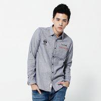 【江戶勝系列】EDWIN 拼格繡花 長袖棉麻襯衫-男款 土耳其藍
