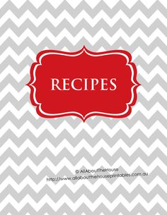 Printable Recipe Binder Cover Editable Recipe Sheet Dividers Recipes to Try Recipe Card Template Meal Plan Grocery List Favorite Recipes Grey Chevron Red Recipe Organization, notes, recipe binder spine, recipe index, US Letter Size - can be printed at half size Printable Recipe Cards, Printable Planner, Printables, Recipe Organization, Planner Organization, Business Organization, Meal Planning Binder, Meal Planner, Menu Planning
