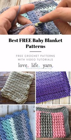 Check out these amazing FREE crochet baby blanket pattern - all with complete-video-tutorials. These blankets make wonderful gifts, are all easy to crochet, and have close-up video-tutorials to you walk through every step. Crochet Baby Blanket Free Pattern, Afghan Crochet Patterns, Crochet Dishcloths Free Patterns, Simple Knitting Patterns, Free Baby Crochet Patterns, Crochet Stitches, Free Crochet Square, Stitch Patterns, Baby Afghan Crochet