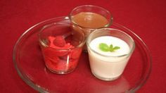 Buttermilchcreme, Mousse au chocolat und Himbeersorbet