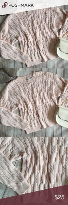 Talbots | Blush Pink Chunky Cableknit Sweater Talbots Blush Pink Chunky Cableknit Sweater! Perfect for fall & in perfect condition! 100% cotton! Size XL, runs small. Bust: 19in Length: 22in ⭐️offers welcome⭐️ Talbots Sweaters Crew & Scoop Necks