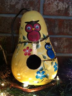 gourd birdhouses | Gourd Birdhouse Handpainted With Whimsical Owls by gourdartistIam