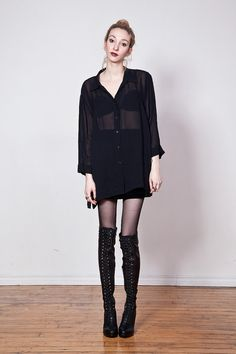 90s Sheer Black Oversized Shirt Dress by tarantulasisters