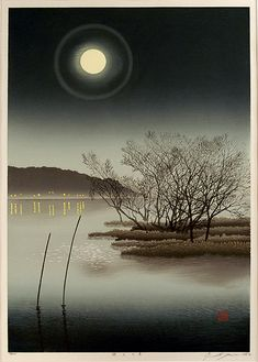 Moonlight over the Lake by Shufu Miyamoto - An original woodblock print, signed and numbered in pencil. Japanese Woodcut, Art Chinois, Bokashi, Art Asiatique, Art Japonais, Japanese Painting, Japanese Prints, Japan Art, Moon Art