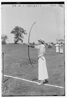 Dr. Marguerite S. Cockett competing at the National Archery Tournament, Jersey City, New Jersey, August 22-25, 1916.  According to the YMCA Biographical Files at the University of Minnesota, Marguerite Cockett was born in 1879 and graduated from Women's Medical College of Pennsylvania in 1905.