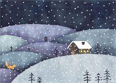 Winter night  #winter #illustration #watercolor