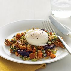 Tender, nutty quinoa makes for a hearty hash when pressed with vegetables. Top each helping with a poached egg and you've got brunch.