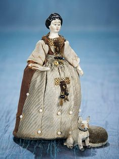 Antique Needlework Tools and Sewing: 1 Grodnertal Wooden Lady as Pincushion with Companion Antique Dolls, Vintage Dolls, Victorian Crafts, Sewing Tools, Sewing Box, Sewing Projects, Embroidery Tools, Vintage Sewing Notions, Half Dolls