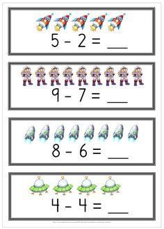 8 sidor med subtraktion. Klipp ut, laminera och låt eleverna använda whiteboardpenna att kryssa över och räkna ut differensen. Montessori, Free Teaching Resources, First Grade, Playing Cards, Pdf, Education, Homeschooling, Initials, Names