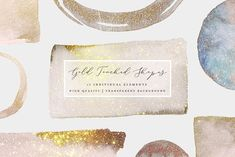 Gold Touched Shapes - Watercolor - Objects