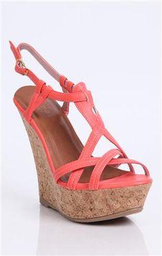 Deb Shops #coral strappy cork #wedge