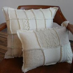 Ivory felted recycled wool sweater pillow medium by Ocheltree