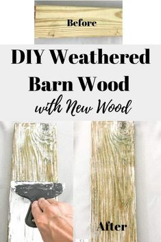 Learn how to create your own DIY Weathered Barn Wood look with new wood. This is such a simple aged wood technique that only requires two materials. If you love new wood with that aged look this post is for you! Old Barn Wood, Weathered Wood, Rustic Wood, Salvaged Wood, Reclaimed Lumber, Distressed Wood, Wood Wood, Barn Wood Projects, Furniture Projects
