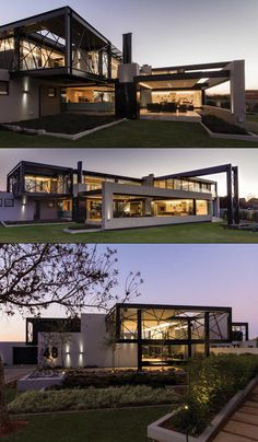 - House, room and garden - Arquitetura Modern Architecture House, Architecture Design, Modern Villa Design, Casas Containers, Luxury Homes Dream Houses, Modern Mansion, Container House Design, Dream House Exterior, Dream Home Design