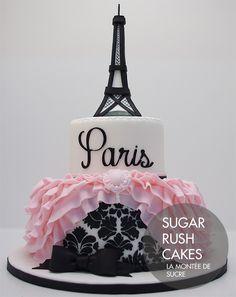 Beautiful elegant Paris themed bridal shower cake with sugar Eiffel tower, pink ruffles and damask stencil. Paris Birthday Cakes, Paris Themed Cakes, Paris Birthday Parties, Paris Party, Parisian Cake, Cake Paris, Fancy Cakes, Cute Cakes, Beautiful Cakes