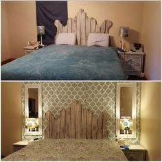 Before & After Master Bedroom King bed with handmade headboard from an old privace fence, mirrors & lamps are from Walmart, and backdrop is 2 shower curtains from Target. Under $100.
