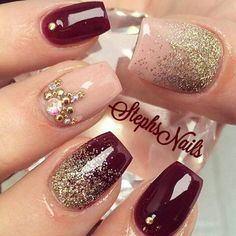 There are three kinds of fake nails which all come from the family of plastics. Acrylic nails are a liquid and powder mix. They are mixed in front of you and then they are brushed onto your nails and shaped. These nails are air dried. Burgundy Nail Designs, Burgundy Nails, Black Nails, Red And Gold Nails, Purple Gold, Magenta, Prom Nails, Fun Nails, Wedding Nails