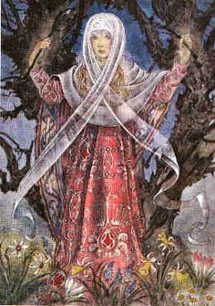 Airmed ~ Irish Goddess of Herbalism and Healing ~ Sulamith Wulfing (note the white veil); Irish Mythology, Celtic Goddess, Vikings, Legends And Myths, Sacred Feminine, Divine Feminine, Gods And Goddesses, Archetypes, Deities