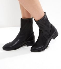 Wide Fit Black Zip Back Ankle Boots | New Look