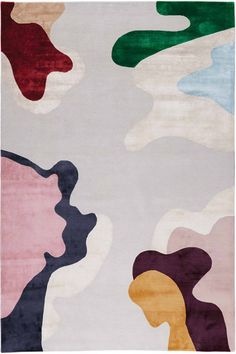 Composing vivid colour and simple organic shapes, Framis represents bold shapes handknotted in silk on to a soft grey wool background, giving the colours a jewel-like intensity. The design has been expertly translated to create a striking rug, perfect for Vivid Colors, Colours, Dining Room Paint, Childrens Rugs, Rug Company, Paint Stripes, Mary Katrantzou, Design Studios, Custom Rugs