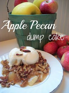 Apple Pecan Dump Cake Recipe: Butter Pecan Cake Mix  5 cups Apple Pie Filling (you will need 2-21oz. cans)  1 teaspoon cinnamon  1/2 teaspoon nutmeg  1/4 teaspoon allspice  1 1/2 cups chopped pecans  1 1/2 sticks (3/4 cup) margarine or butter  -Preheat oven to 350 degrees