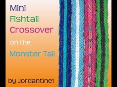 Monster Tail or Rainbow Loom MINI FISHTAIL CROSSOVER Bracelet. Designed and loomed by jordantine1. Click photo for YouTube tutorial. 05/18/14.