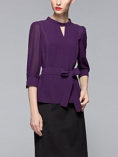 Shop Long Sleeved Tops - Purple Plain 3/4 Sleeve Keyhole Polyester Long Sleeved Top online. Discover unique designers fashion at StyleWe.com.