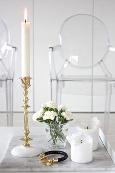 homevialaura | Gauhar | gauharshop.com | Scandinaviaform | candlestick | brass | gold | white flowers | marble | Reiss bracelet | Kartell Louis Ghost