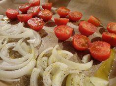Gemüse mit Olivenöl besprenkeln und würzen, dann 15 min. bei 180 ° im Ofen backen= Chipsersatz!