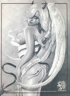 Steve Soto Tattoo Flash | devil or angel tattoo design book steve soto profi tattoo