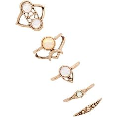 Forever 21 Faux Stone Ring Set ($7.90) ❤ liked on Polyvore featuring jewelry, rings, band jewelry, channel-set band ring, stone rings, artificial jewelry and circle jewelry