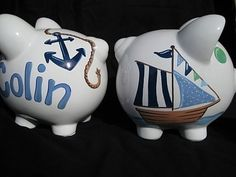 personalized piggy bank sailboat nautical pirate ships ahoy... I have a blank piggy bank I need to paint